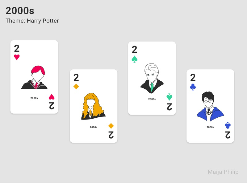 Era Card Deck (2s) playing cards playingcards playing card modern lines illustration graphics graphic flat era design decade clean cards 2000 2000s harry potter