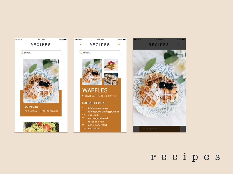 Recipe App typography design uxui uxdesign user interface ui ui design concept art concept branding design branding app