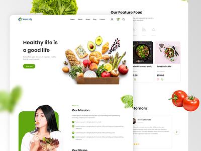 Healthy food Homepage delivery restaurant minimalist green whitespace website design veganfood