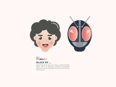 Masked Rider Black RX illustrator illustration flat design