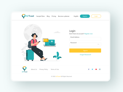 AZTravel Login Page ux design uiux login screen login page login illustration responsive website design responsive web design responsive website website design website web responsive design responsive uidesign ui design design ux ui  ux ui