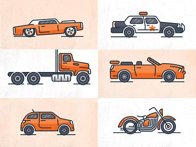 Vector Vehicles vector illustrations police car motorcycle trucks cars