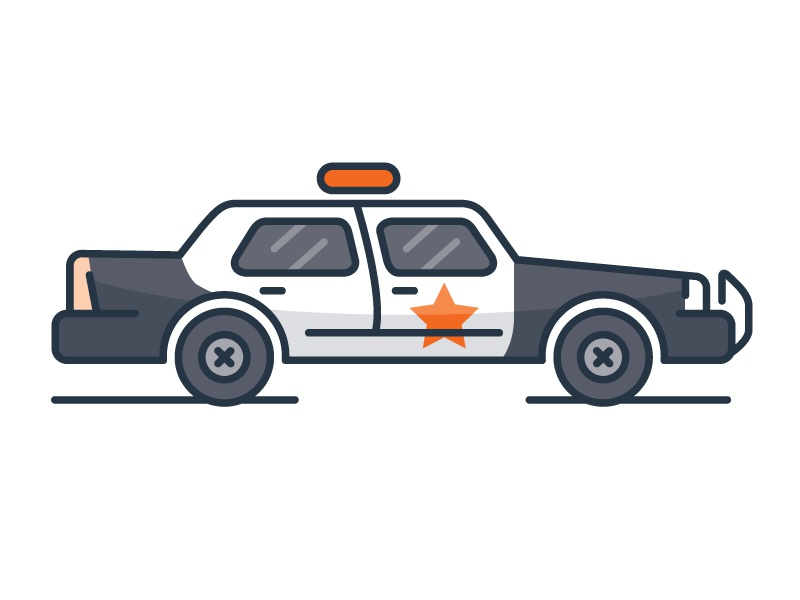 Police Cruiser car vehicle icon illustration vector police
