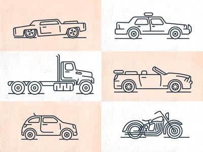 Vehicle Line Icons truck motorcycle car vehicles line icons icon set