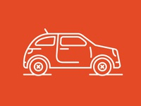 Compact Car Line Icon