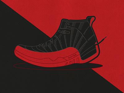 Jordan 12s Illustration red jordan sneakers illustration vector
