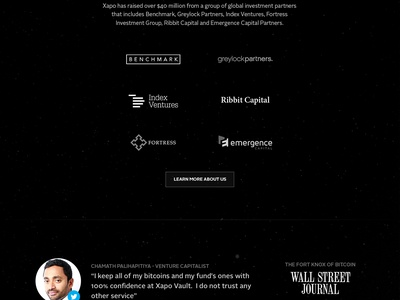 The new xapo.com bitcoin security dark black landing animation space vault debit card quote satelite