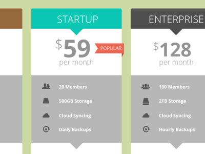 Pricing table concept