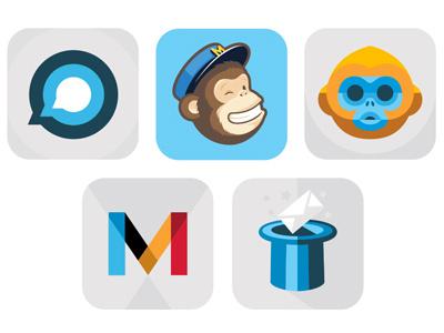 MailChimp App Icons iphone app icons mobile branding flat