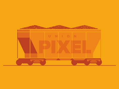 Union Pixel train car coal pixels draplin yellow draplin orange train