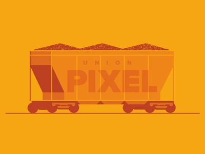 Union Pixel train car coal pixels draplin yellow draplin orange train