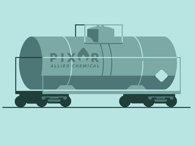 Pixor Allied Chemical train tanker car doodle pixel series