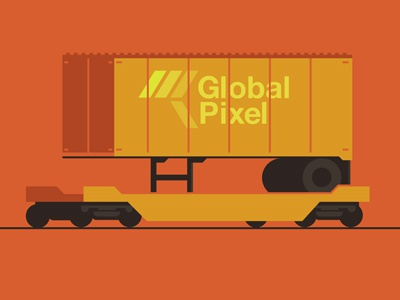Global Pixel train series doodle orange