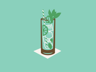 Mojito cocktail mint drinkup doodle simple brown ice cold