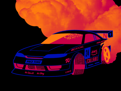 I am on smoko. branding black illustration texture drift car
