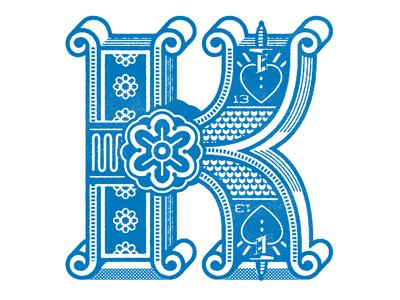 K  drop cap daily workout k kings cards texture