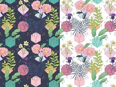 Botanical Dice Pattern pretty plants botanical floral tabletop rpg dnd pattern design rpg d20 dice pattern