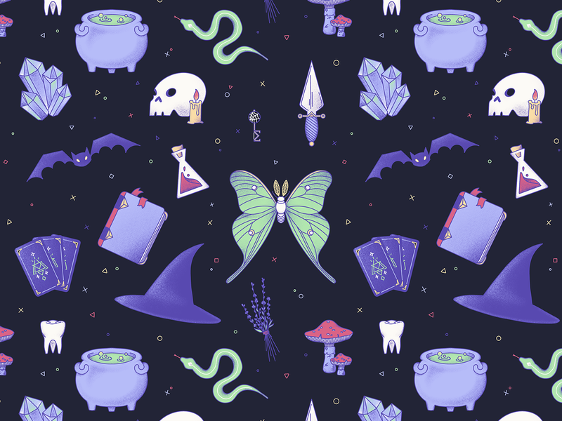 Witchy Assortment (Pattern) witches potion procreate digital art seamless pattern dagger crystals cauldron tarot spellbook bat moth skull illustration pattern witch witchcraft