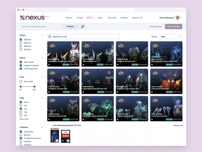 Games Dashboard featuring Path of Exile Armour ui gaming pc gaming content creators creators armour nexus nexus.gg design branding partnership web ui web design videogames dashboard