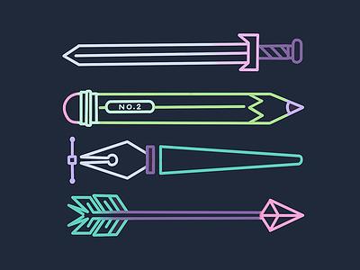 part of the pact arrow pen pencil sword tools