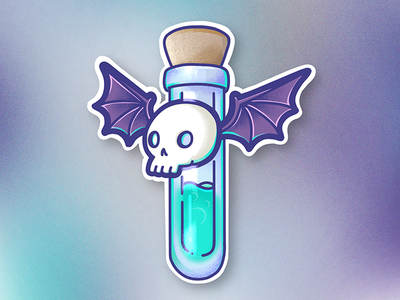 spoopy bat vial illustration bat potion vial skull spooky