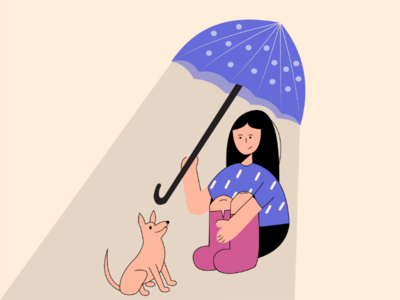 Come with me 🐾 dog girl character design illustrator adobe illustration flat