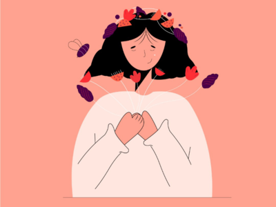 Peace🏵 peace girl flower character design adobe illustration illustrator flat