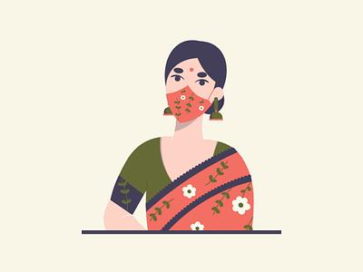 Keep your MASK on 😷 vector 2d india color shape character design flat artist illustrator illustration