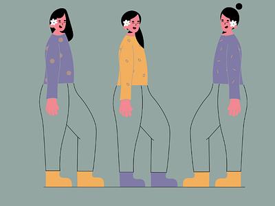 Flower Girls 🌼 illustrator minimal womenillustrator designer freelance artist art digital vector adobe 2d colors shapes character illustration flat flower