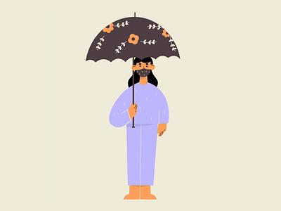 Raining ☔ 2d flat illustration flat character design illustration