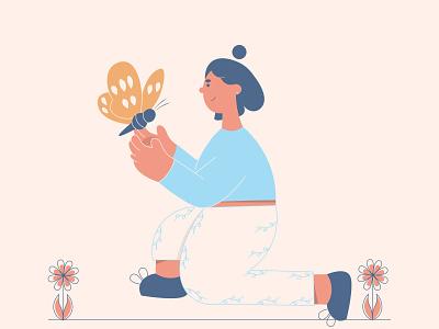 Butterfly 🦋 nature butterfly colors minimal vector art artist digital flat 2d character adobe illustrator design illustration