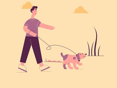 Walk scene animal character design color shapes freelancer digital artist 2d minimal dog illustration vector adobe flat character illustrator design illustration