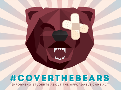 Student Healthcare Poster flat illustration bear geometric college poster msu