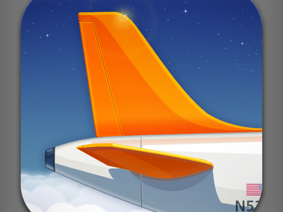 Just Landed App Icon iphone ios app icon flight tail fin airplane illustration just landed