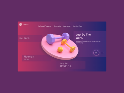 Fitness at home.COVID-19 Community Website. design typography ux ui