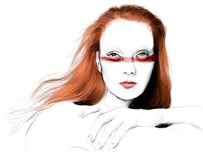 Blood Redhead girl paint redhead illustration art woman