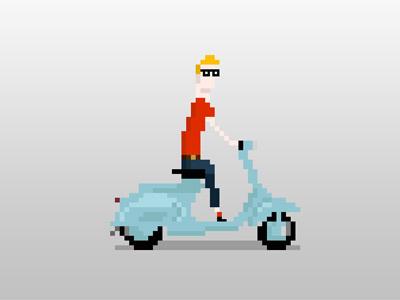 Ride on Vespa pixel illustration