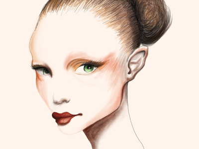 Wacomtest wacom hand paint girl face illustration
