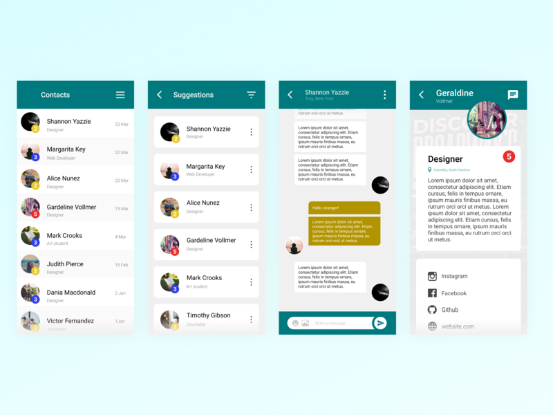 Direct Messaging App - Daily UI 013 direct messaging chatting app profile suggestions contacts material ui material design materialdesign material app design chatting chat app ux ui daily ui dailyui design