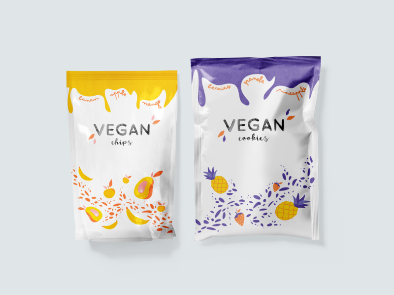 Packaging design for Vegan Cookies Fruits Illustration texture pack bananas mango pineapple vector fruity typogaphy pattern packing package design package illustration vegan food vegan healthy fruits fruit food design branding