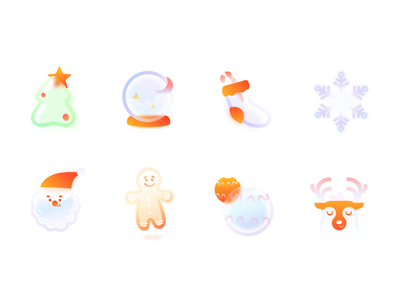 Frosted Glass Christmas Xmas icons set transparent transparent christmas tree winter atmosphere new year glassy icon pack matte vector illustration ui gingerbread santa snowflake deer xmas frosted glass frosted christmas icon set