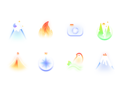 Frosted Glass Travel Icon Set   Nature Mountains Forest icon design magic traveling iconography vector volcano bird compass tent forest fire mountains nature mature frosted glass icon set icons atmosphere ui illustration