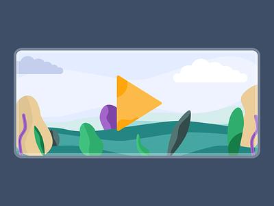 Action banners | Play & Like | illustrations design ux ui sky forest vector flat sketch like play banner app illustration ui design