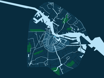 Amsterdam | Canals, Rivers and main bike lane ui design ui illustration vector sketch mapping bike lane parks canal amsterdam maps