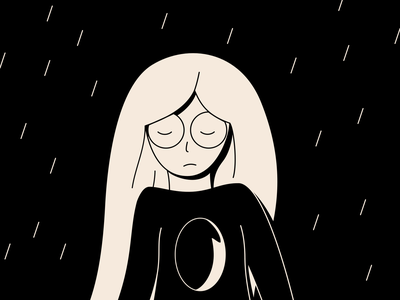 sad girl | black and white | illustration | depression depression vector art ui illustration black and white girl sad solitude sadness
