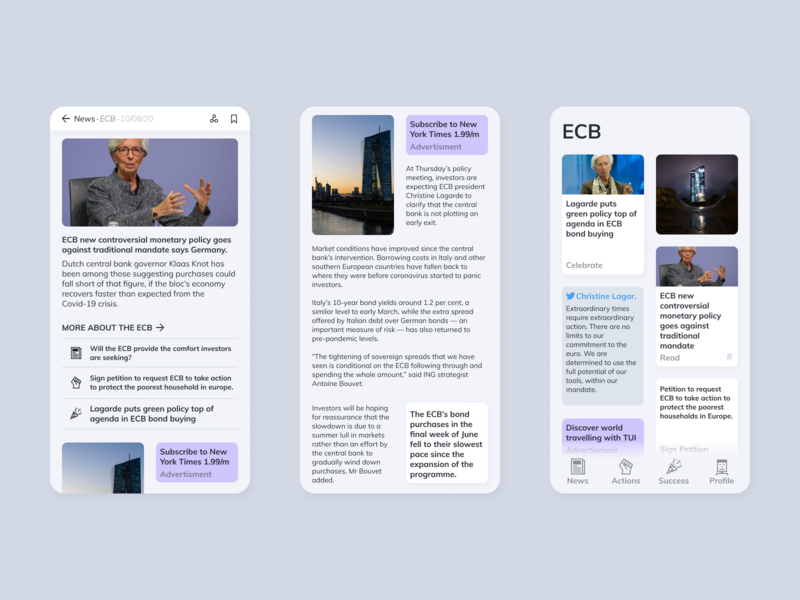 Reakt | Article and Topic view ui mobile ui topic article news mobile ui design