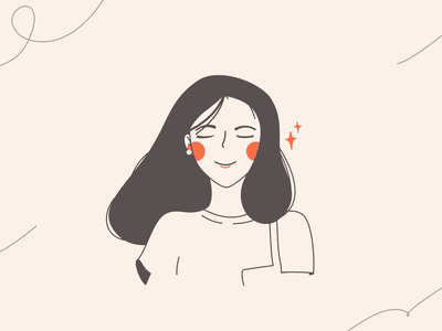 Smile woman girl smile vectorart portrait drawing illustration ui