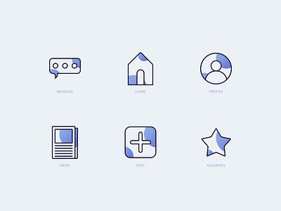 Bubbly Icon Set ui favorites icon post icon news icon profile icon home icon message icon playfull bubbles icons icon