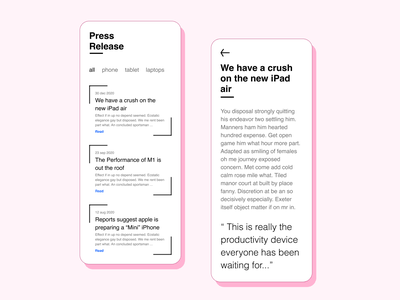 51 :: Press Page mobile press page dailyui 051 dailyui ui