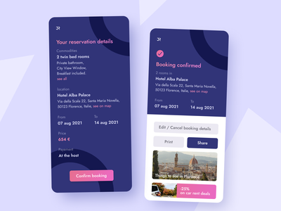 54 :: Confirmation Reservation mobile reservation confirmation dailyui 054 dailyui ui